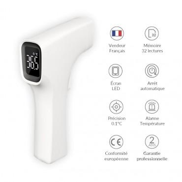 Vigicom® TH-IR01 : Thermomètre Infrarouge Médical Professionnel avec Écran LED Rétroéclairé
