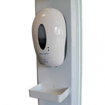 Vigicom® E-THERMO : Borne de contrôle des températures corporelle avec distributeur de gel hydroalcoolique intégré