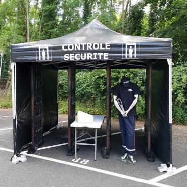 Vigicom PS-SHELT : Tente destinée à la protection des visiteurs lors des contrôles avec portiques de détection de métaux.