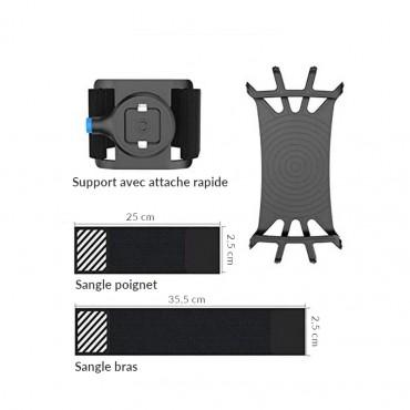 Vigicom® BR-UNIV : Pack d'accessoires de port universel pour smartphone comprenant brassard et bracelet