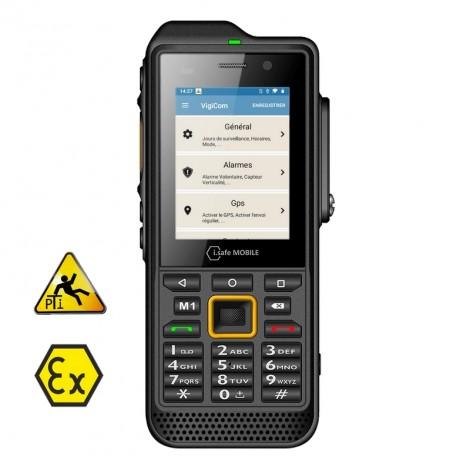Vigicom® ATI-3620Ex2 : Smartphone Atex Android ultra robuste avec clavier à touches pour la protection des travailleurs isolés